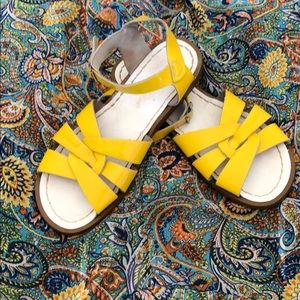 Saltwater Sandals Yellow Patent Leather